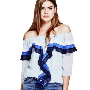 Guess Germaine Off-the-Shoulder Ruffled Blouse